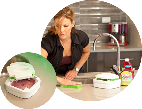 I-soak Antibacterial sponge soaker that's safe for your family and the environment while killing 99.99% of bacteria.